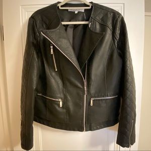 Kenneth Cole Black Leather Moto Jacket XL NWT